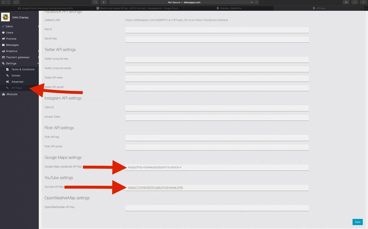 where to put api key in efexx app